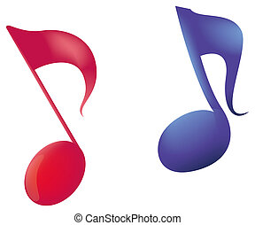 music notes - Abstract colorful music notes with effects and...