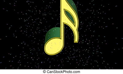 music notes in 3d floating away in space