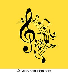 Music notes swirl icon