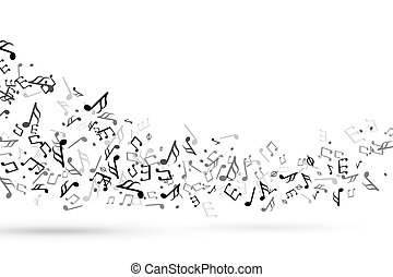Music notes swirl. Wave with notes musical stave key harmony, symphony melody flowing music staff treble clef vector background