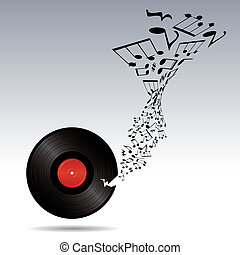 music notes takes off from vinyl