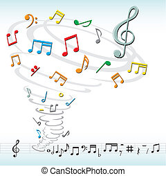 music notes tornado - tornado destroys a musical notes