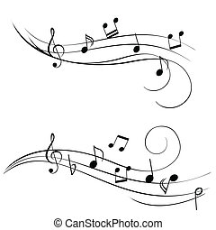 Music Notes - Various music notes on stave