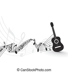 Music notes wirh guitar player for design use, vector illustrat