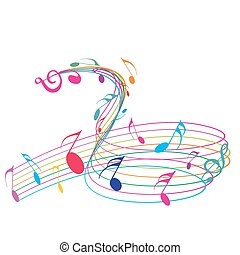 Music notes wirh rainbow wave line for design use, vector illustrat