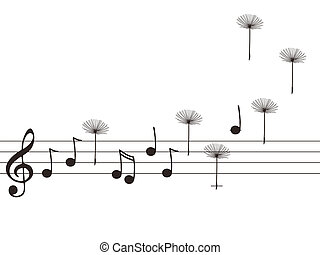 Music notes with dandelion seeds - Vector illustration of...