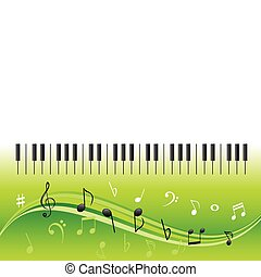 Music notes with piano keys - Music notes on swirls with...