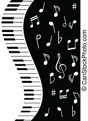Music notes with piano - Various music notes with piano keys
