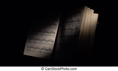 Music notes with ray of light, wind scrolls the sheet, on black