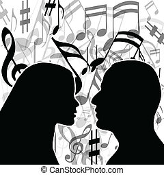 Music of love - Illustration love music with a couple in ...