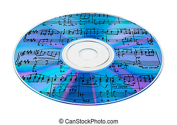 Music on cd isolated on white background