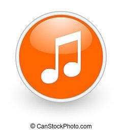 music orange circle glossy web icon on white background