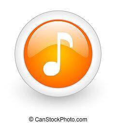 music orange glossy web icon on white background
