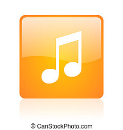 music orange square glossy web icon
