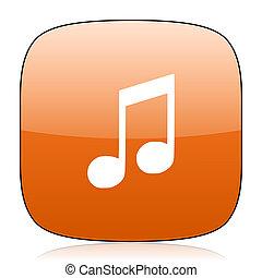 music orange square web design glossy icon