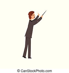 Music orchestra conductor vector Illustration on a white...