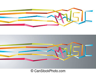 Music origami ribbon background