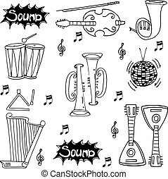 Music pack tools doodles vector illustration