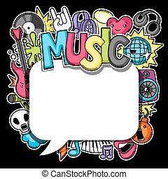 Music party kawaii background
