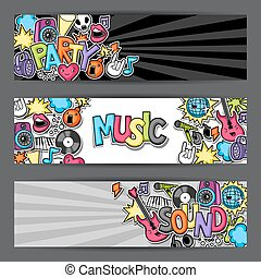 Music party kawaii banners. Musical instruments, symbols and objects in cartoon style