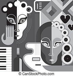 Music Party - vector illustration - Musical Party - abstract...