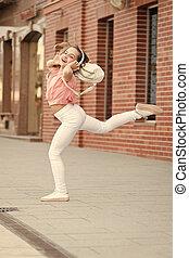 music., pequeno, apreciar, rua., dançarino, menina, ever.,...
