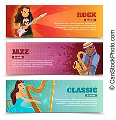 Music performance flat banners set