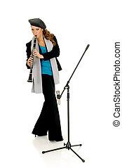 Music performer, clarinet - Attractive alternative dressed...