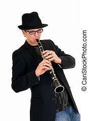 Music performer, clarinet - Handsome alternative dressed...