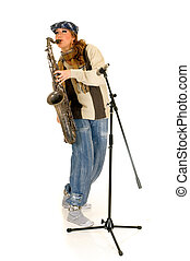 Music performer, saxophone - Attractive alternative dressed ...