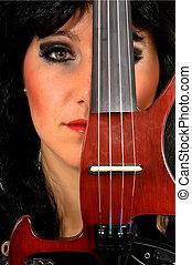 Music performer, violinist - Attractive alternative punk...
