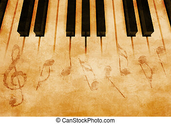 Music - Abstract music background - Keyboard and musical...