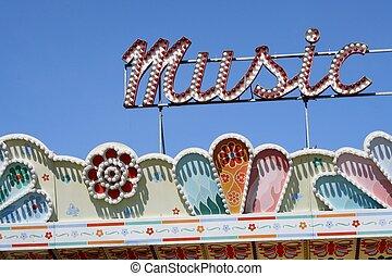 Music sign at a Seattle Center amusement park