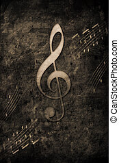 Music - old music notes in retro design look