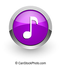 music pink glossy web icon