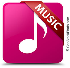 Music pink square button red ribbon in corner