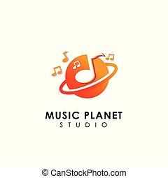 music planet logo design concept. music play icon symbol design