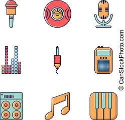Music player icons set, flat style