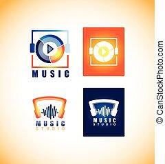Music player studio logo icon