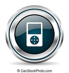 Music player vector icon. Chrome border round web button....