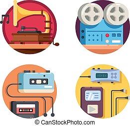 Music player vintage retro icons
