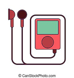 Music player with earphones blue lines
