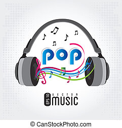 music pop over gray background vector illustration