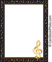 Entertainment event poster, black frame gold music notes and treble clef. Copy space for music announcements, fliers, concerts, performances, recitals.