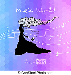 Music poster, girl with player - Vector poster, i love...