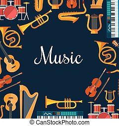 Music poster. Wind and strings musical instruments