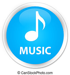 Music premium cyan blue round button