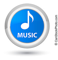 Music prime cyan blue round button