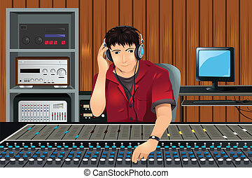 A vector illustration of a music producer listening in the studio