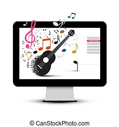 Music Project with Guitar and Notes on Computer Screen